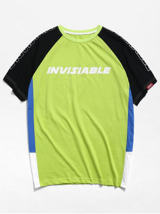 T-shirt da letra de Colorblock da luva do Raglan - Verde 2XL