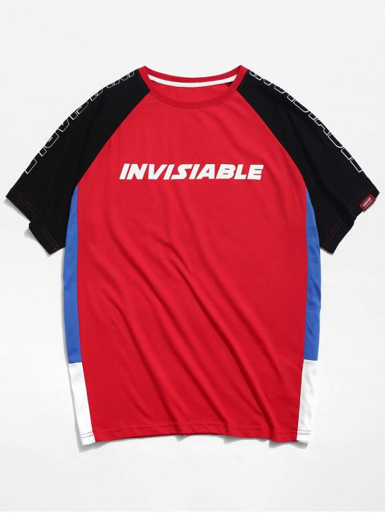 Raglan-Ärmel Colorblock-Buchstabe-T-Shirt - Rot M