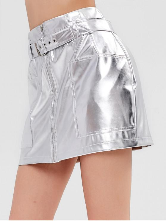 Mini saia de couro brilhante PU - Prata S