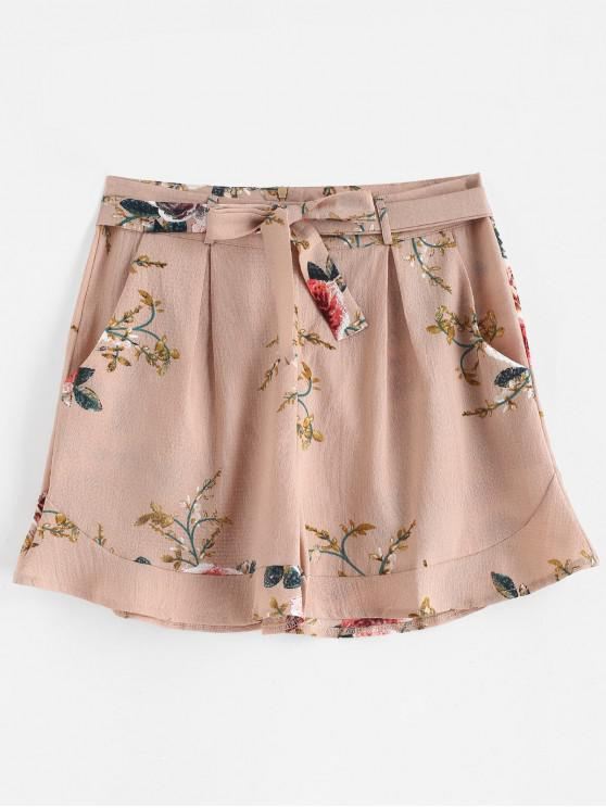 outfit Floral Print Belted Wide Leg Shorts - PINK L