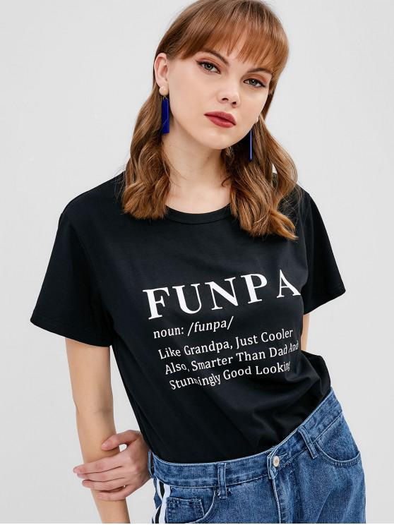 outfit Contrasting Graphic Tee - BLACK S