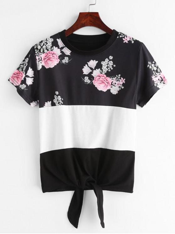 latest Stripe Paneled Tie Hem Floral Print Tee - BLACK M