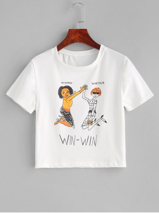 chic Cropped Graphic Short Sleeve Tee - WHITE M