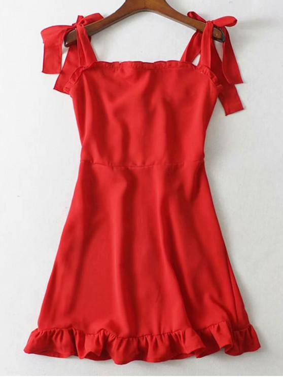 women Tie Strap Ruffled Mini Dress - RED M