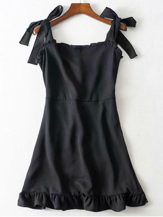 lady Tie Strap Ruffled Mini Dress - BLACK M