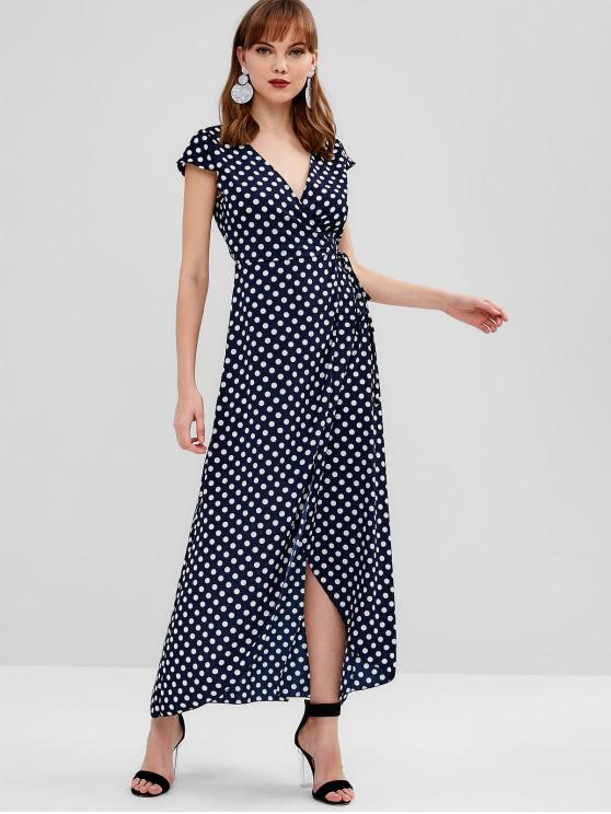 747af3518f 27% OFF  2019 Polka Dot Cap Sleeve Wrap Dress In NAVY BLUE