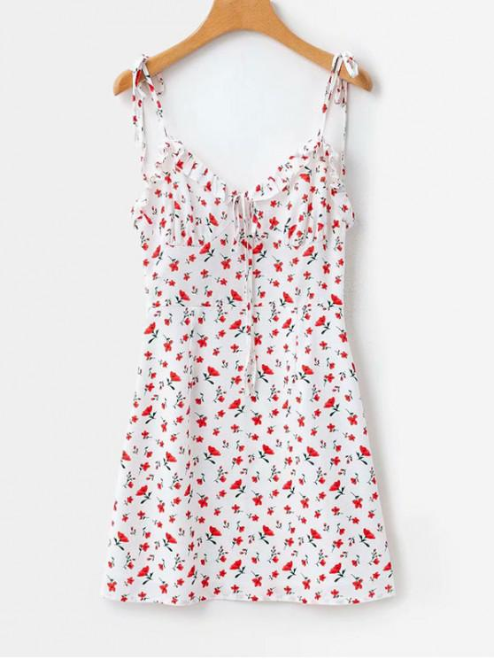 buy Tie Strap Floral Print Mini Sun Dress - MULTI S