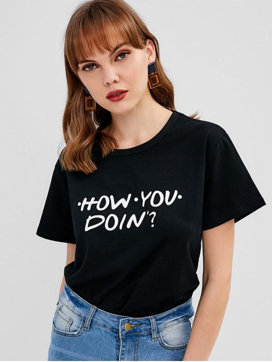 ecb826cdd574 23% OFF] [HOT] 2019 Text Graphic Print Tee In BLACK | ZAFUL
