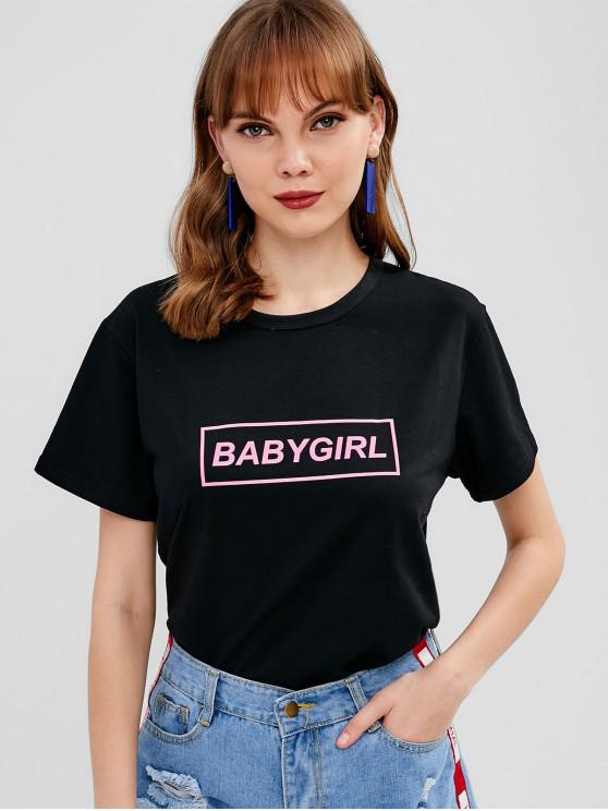 ladies BABYGIRL Letter Graphic Tee - BLACK XL