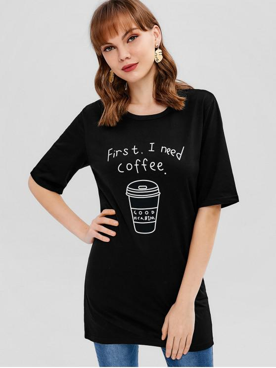 dcf635224215 35% OFF  2019 Coffee Graphic Tunic Tee In BLACK
