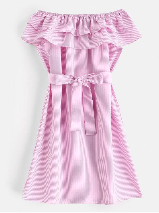 outfit Tiered Flounce Striped Belted Dress - HOT PINK S