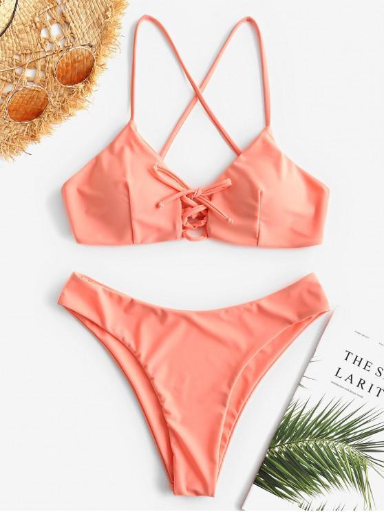 best Cross Strap Lace-up Bikini - LIGHT SALMON L