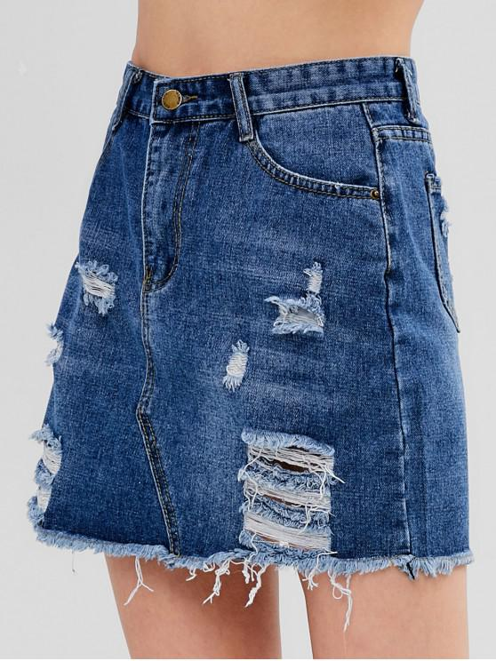 lady Ripped Denim Skirt - BLUE L