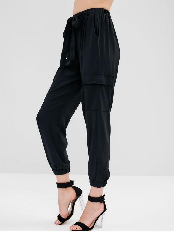 women Knotted Pockets Jogger Pants - BLACK L