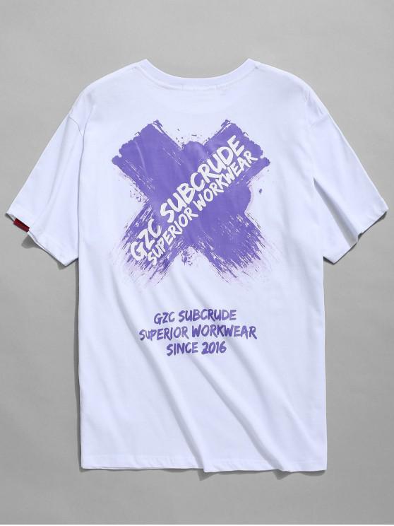 Kreuzbuchstaben Grafik Print T-Shirt - Weiß 2XL