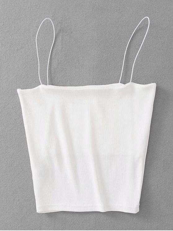outfit Ribbed Cropped Cami Top - WHITE ONE SIZE