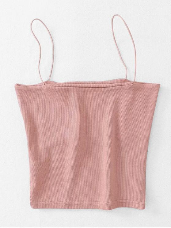 lady Ribbed Cropped Cami Top - LIGHT PINK ONE SIZE