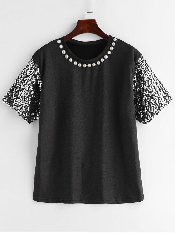lady Sparkly Sequin Sleeve Metallic Sheen Tee - BLACK L