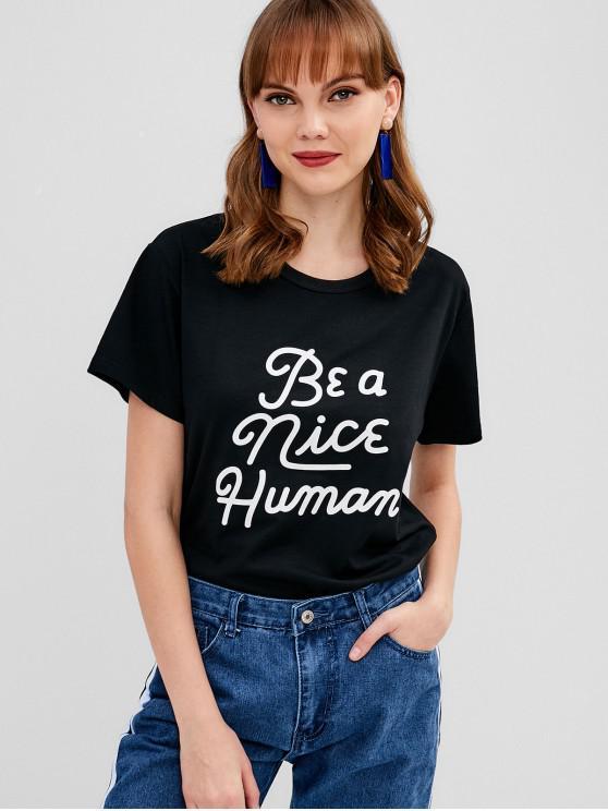 T-shirt Contrasté Graphique à Manches Courtes - Noir M