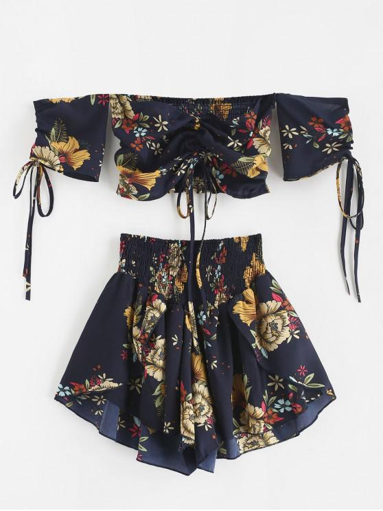 hot Zaful Off Shoulder Cinched Floral Set - MIDNIGHT BLUE L