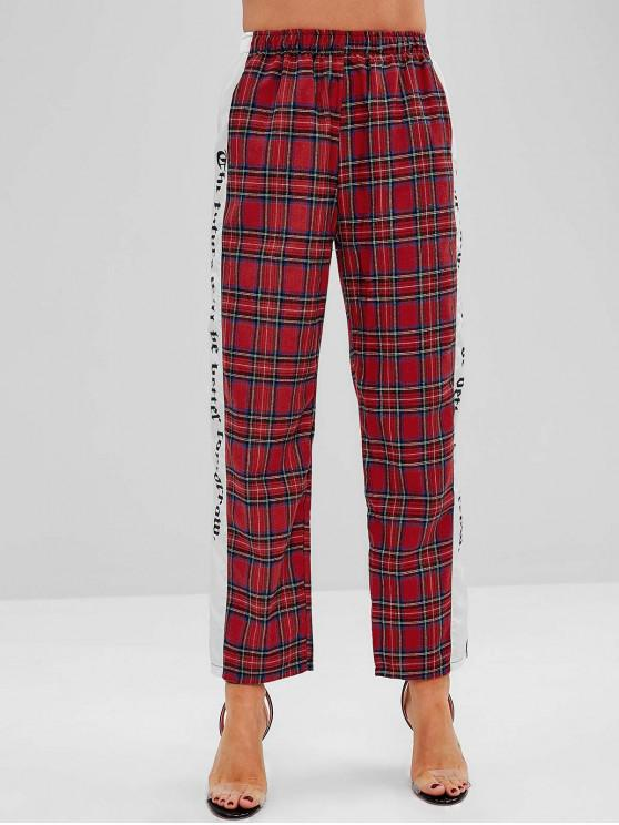 outfits Straight Leg Paneled High Waisted Plaid Pants - RED XL