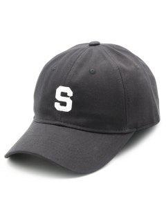 S Letter Printed Baseball Hat - Black