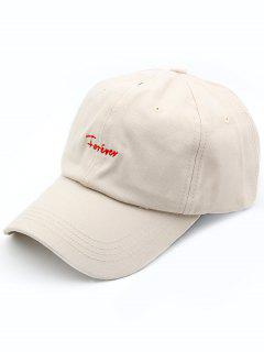 Forever Pattern Embroidered Baseball Hat - Beige