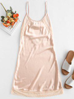 Lace Panel Caged Slip Nightdress - Apricot L