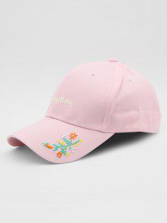 Embroidery Flower Plant Letters Baseball Hat - Pink