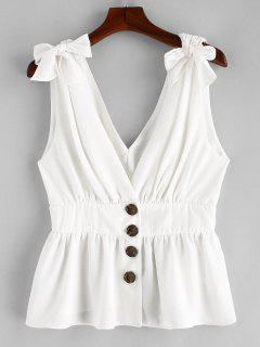 ZAFUL Knotted Button Up Tank Top - White L