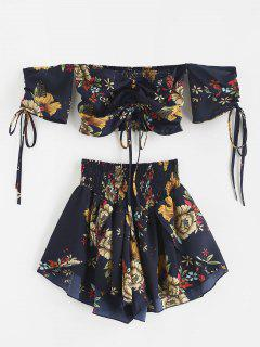 Zaful Off Shoulder Cinched Floral Set - Midnight Blue S