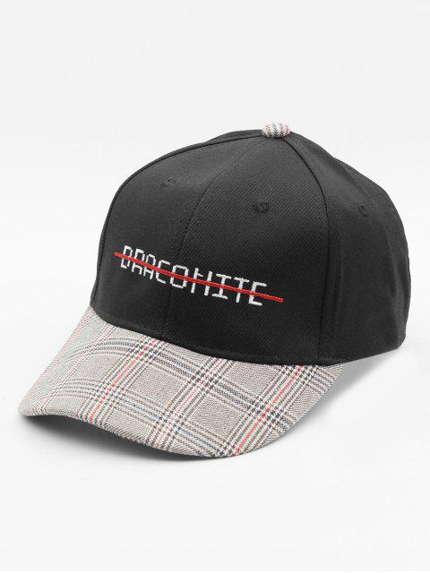 womens Embroidery Letter Strickout Plaid Cap Truckers Hat - BLACK  Mobile