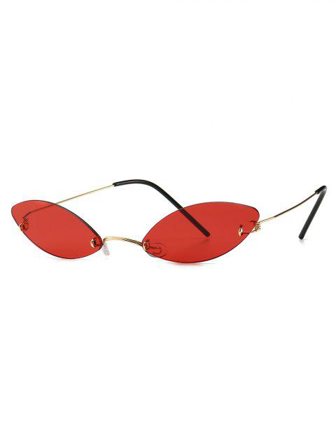 lady Modern Style Narrow Lens Sunglasses - RED  Mobile