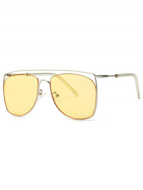 best Square Metal Frame Sunglasses - YELLOW  Mobile