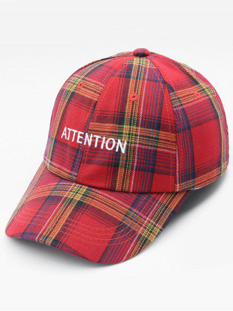 new Plaid Letters Pattern Sports Adjustable Baseball Cap - RED  Mobile