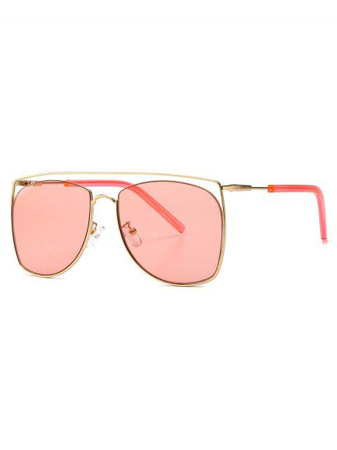 outfit Square Metal Frame Sunglasses - PINK  Mobile