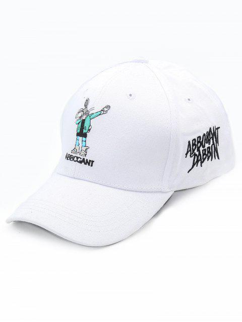 lady Cartoon Embroidery Decoration Baseball Hat - WHITE  Mobile