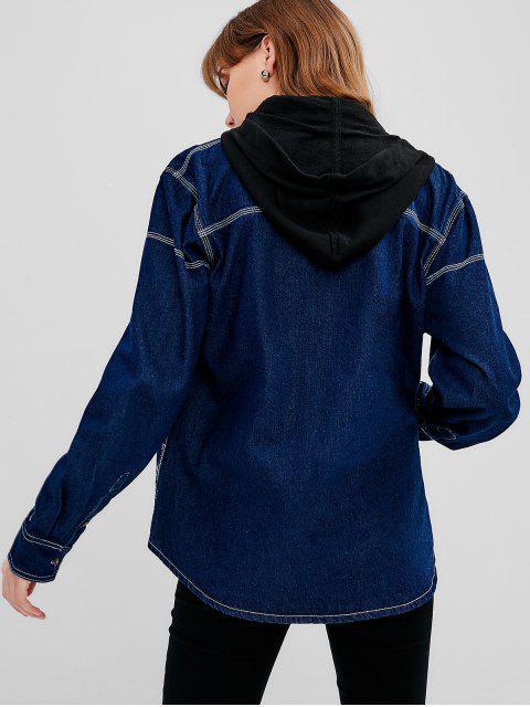 Veste Cousue Contrastante en Denim - Bleu Foncé Toile de Jean Taille Unique Mobile
