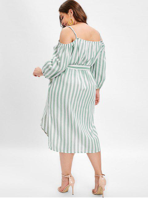 unique Plus Size Slits Striped Belted Cami Dress - GREEN 3X Mobile