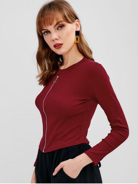 outfit Long Sleeve Zip Up Top - RED WINE ONE SIZE Mobile