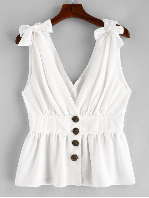 shop ZAFUL Knotted Button Up Tank Top - WHITE M Mobile