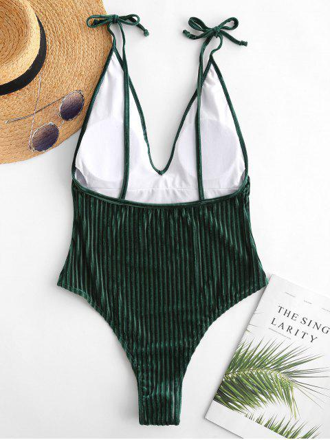lady ZAFUL Velvet Ribbed Backless Swimsuit - DEEP GREEN M Mobile