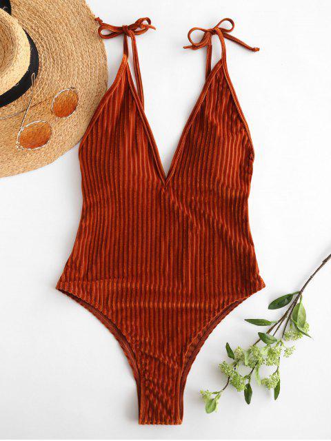 trendy ZAFUL Velvet Ribbed Backless Swimsuit - LIGHT BROWN M Mobile