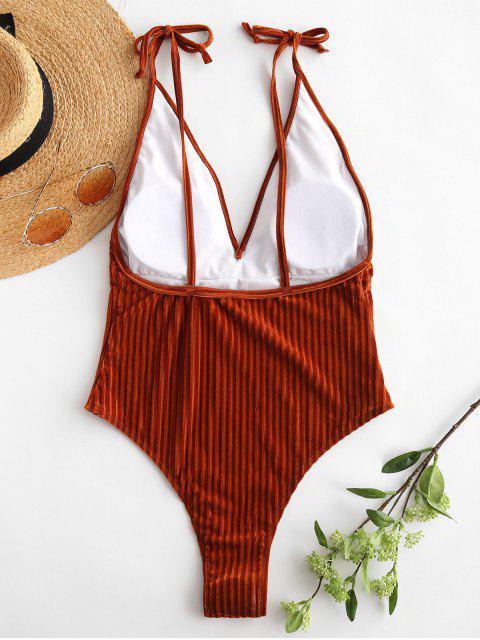 womens ZAFUL Velvet Ribbed Backless Swimsuit - LIGHT BROWN S Mobile