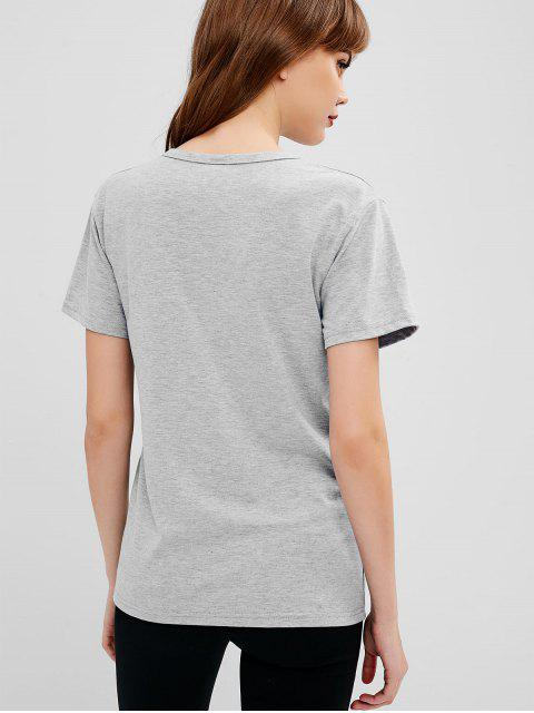 fashion Cat Print Graphic Marl Tee - GRAY GOOSE S Mobile