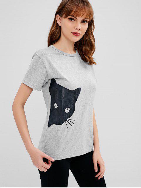 T-shirt Chiné Graphique Chat Imprimé - Oie grise L Mobile