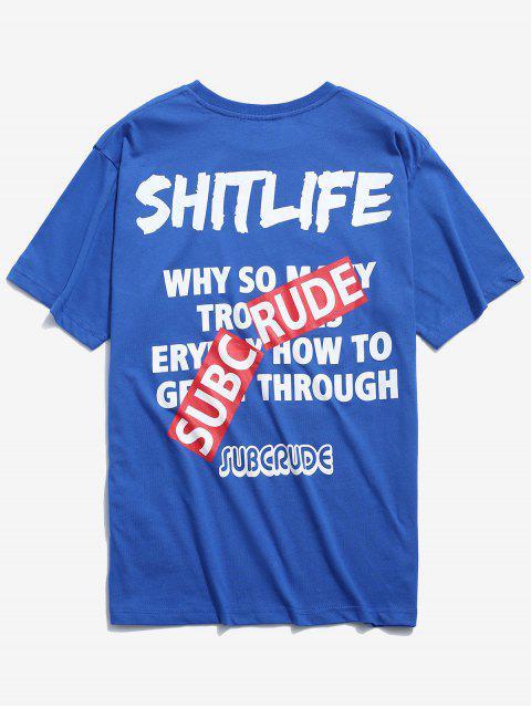 Camiseta Estampada Contraste - Azul L Mobile