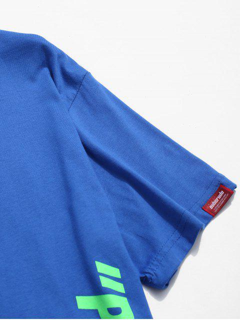 Camiseta impresa letras casuales - Azul L Mobile