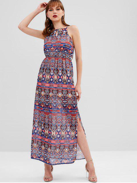 buy Keyhole Printed Maxi Dress - MULTI L Mobile