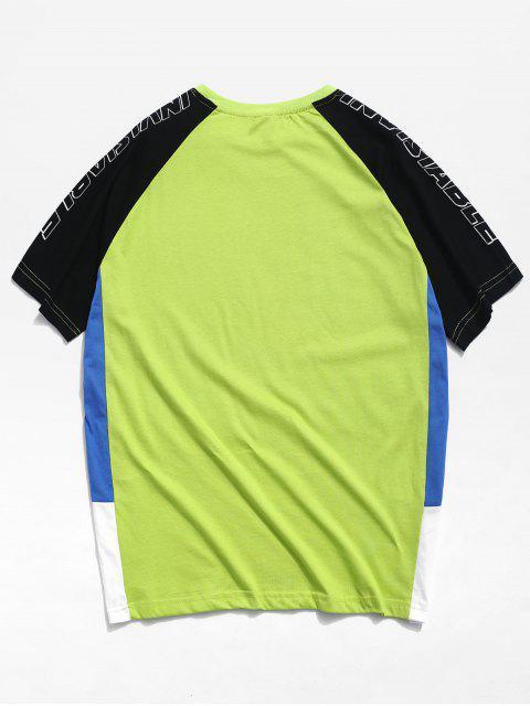 插肩袖拼色字母T卹 - 綠色 2XL Mobile
